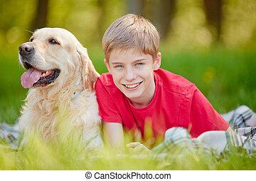 menino, e, seu, cão