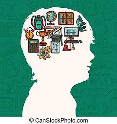 menino, educação, silueta, ícones