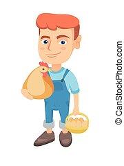 menino, eggs., galinha, segurando, galinha, caucasiano