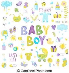 menino, elementos, -, vetorial, desenho, bebê, scrapbook