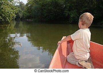 menino, em, a, bote
