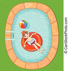 menino, em, a, piscina