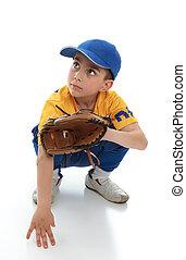 menino, em, basebol, t-bola, engrenagem