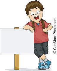 menino, em branco, signboard, criança, inclinar-se