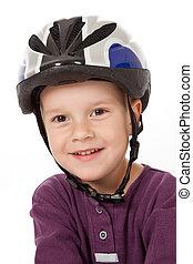 menino, em, capacete bicicleta