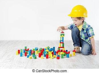 menino, em, chapéu duro, tocando, com, blocks:, predios,...