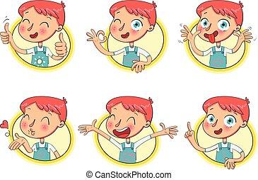 menino, em, diferente, situations., engraçado, careta
