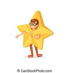 menino, em, dourado, estrela, equipamento, vestido, como, inverno, feriados, símbolo, para, a, traje, natal, carnaval, partido