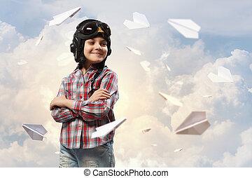 menino, em, pilot's, chapéu