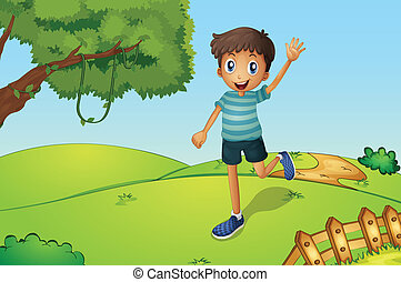 menino, enquanto, waving, executando, colina, feliz