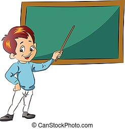 menino, ensinando, ilustração