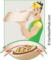menino entrega, pizza