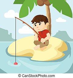 menino, era, pesca