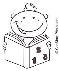 menino, esboçado, livro, leitura, criança