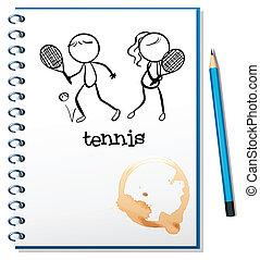 menino, esboço, tênis, caderno, menina, tocando