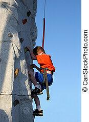 menino, escalar, criança, rocha