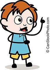 menino, escola, apontar, personagem, -, ilustração, falando, enquanto, vetorial, caricatura
