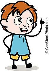 menino, escola, apontar, personagem, mostrando, -, ilustração, vetorial, caricatura