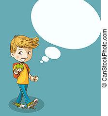 menino, escola, bubble., costas, social, educação