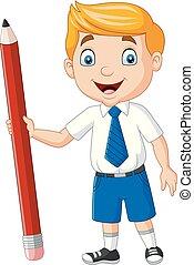 menino, escola, caricatura, segurando, lápis