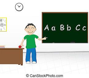 menino, escola, chalkboard