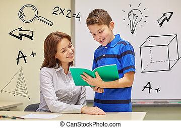 menino escola, com, caderno, e, professor, em, sala aula