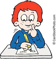 menino, escola, ilustração, pensativo, vetorial, caricatura