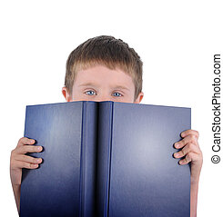 Menino, escola, leitura, livro
