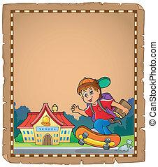 menino, escola, pergaminho