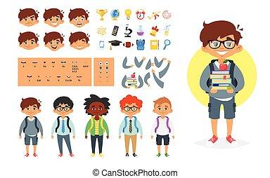 menino, escola, personagem, gerador
