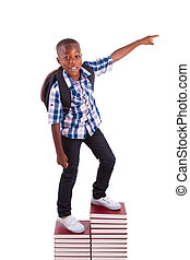menino, escola, pessoas, -, americano, pretas, africano