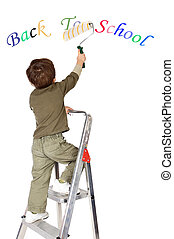 menino, escola, quadro, costas