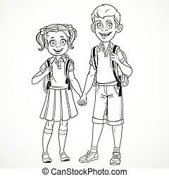 menino, escola, segurando, menina, linha, isolado, saco, fundo, mãos, branca, desenho