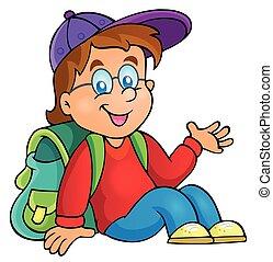 menino, escola, tema, imagem, 3