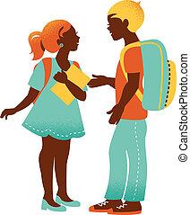 menino, escola, vindima, costas, ilustração, girl.,...