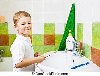 menino, escovas, teeth.