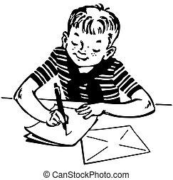 menino, escrevendo uma carta