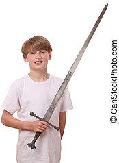 menino, espada