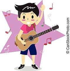 menino, estilo, amor, personagem, jovem, ilustração, violão jogo, vetorial, desenho, fundo, acústico, música, estrela, caricatura, feliz