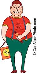 menino, estilo, t-shirt, jovem, cão, personagem, esboço, gorda, isolado, quentes, fundo, branca, caricatura, pizza