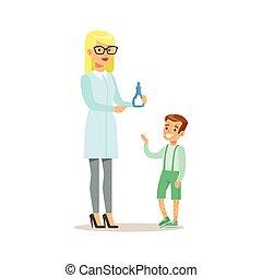 menino, exame, doutor, médico, erupção, exame, pediatra,...