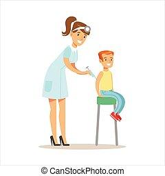 menino, exame, obtendo, pre-escola, doutor, exame médico,...