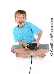 menino excitado, tocando, um, jogo computador