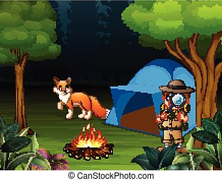 menino, explorador, acampamento, raposa, floresta, barraca