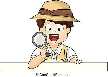 menino, explorador, ilustração, vidro, magnificar, criança