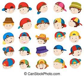 menino, expressões, cabeças, facial