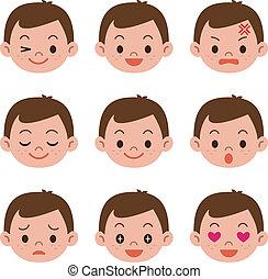menino, expressões, facial