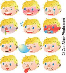 menino, expressões, loura, facial