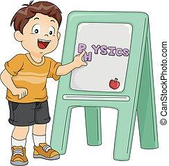 menino, física, tábua, ilustração, criança
