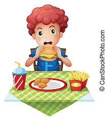 menino, fastfood, ondulado-cabeludo, comer, restaurante